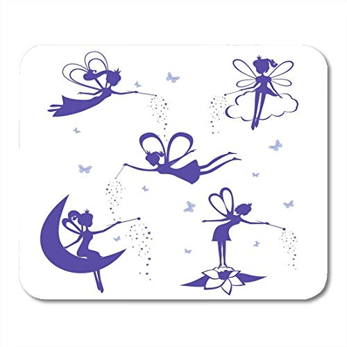 Mauspads Zauberstab Schmetterling Cartoon Fee Silhouette der blauen Feen Schablone Weißes Mädchen Engel Mauspad für Notizbücher, Desktop-Computer Mausmatten, Büromaterial