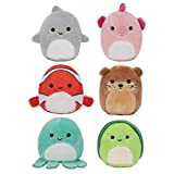 Squishville by Squishmallows SQM0067 Mystery Sealife Squad, Six 2 Sea Animals, Irresistibly Soft Colourful Plush, Mini Shark, Otter, and Seahorse Squishmallows
