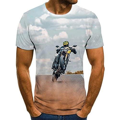 3D Gedrucktes T-Shirt,3D Gedruckt T-Shirt, Coole Racing Graphics T-Shirt Motorrad 3D Gedruckt Männer 'S T -Shirt Sommer Mode Tops Punk T -Shirt Männer 'S Plus Größe Streetwear, Mode Kurzarm Runde