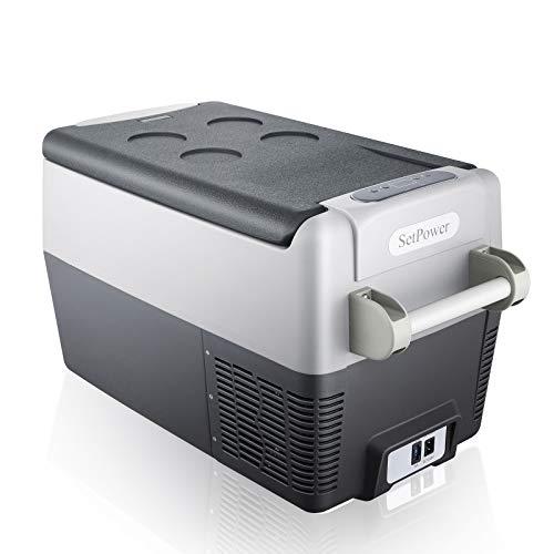 SetPower AJ30 32 Quarts Portable Freezer Fridge 12V Cooler, 0℉-50℉, DC 12/24V, AC 110-240V, Car Fridge Compact Refrigerator, for Truck, Van, RV Road Trip, Outdoor, Camping, Picnic, BBQ, Patio