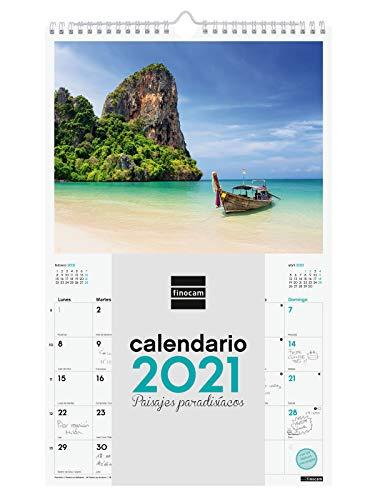 Finocam - Calendario de pared 2021 Escribir Imágenes Espiral 25x40 Paisajes paradisíacos Español