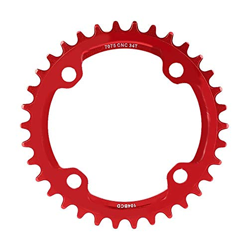 sjlerst Repair Parts Moutain Bike Cahin Ring 32/34/36/38T BCD 104 Mountain Bike Chain Ring Steel Single Crank Chain Ring for(red, 34T)