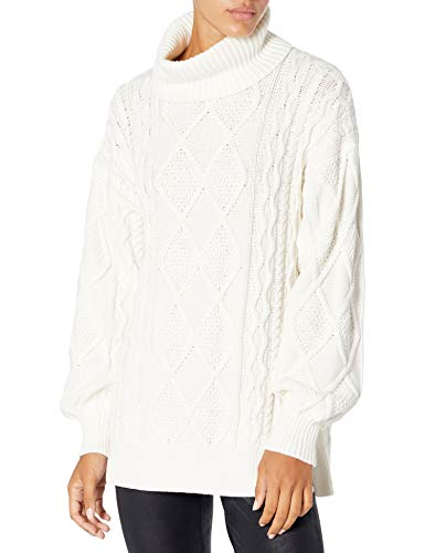 The Drop Women's Blanche Oversized Side Slit Cable Stitch Turtleneck Sweater