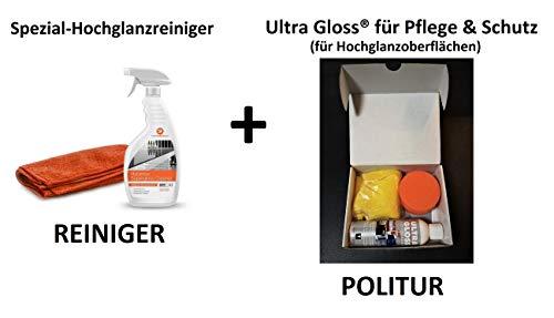 ULTRA GLOSS Superpolish DGS Pflegeset 250 ml + Reiniger 500ml für Hochglanzmöbel mit Poliermaus Poliertuch Küchen Möbel Politur Hochglanzpflegemittel