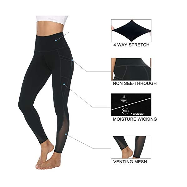 Fashion Shopping AFITNE Women's High Waist Mesh Yoga Leggings with Side Pockets, Tummy Control Workout