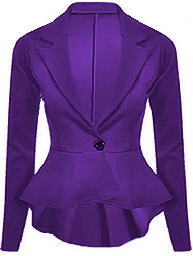 ZEE FASHION Womens Crop Frill Shift Slim Fit Fitted Peplum Blazer (Purple, 12)