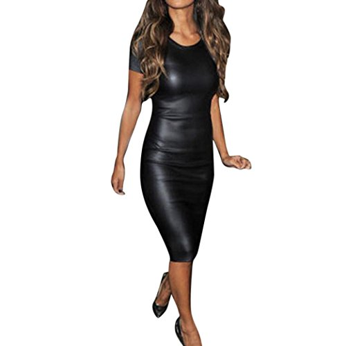 Cinnamou Vestido de Cuero para Mujer, Cinnamou Vestido de Fiesta para Bodas Cortos Bodycon de Moda, Vestido de Tirantes Sexy Clubwear Slim Fit sin Mangas (2XL)