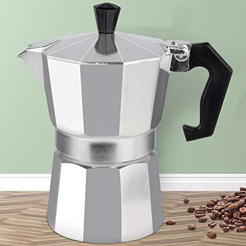 3-Cup Stovetop Espresso Maker, Italian Moka Pot Coffee Maker, Italian Cuban Expresso Stove Top Small Coffee Maker Machine Flavor Strong Cafetera Percolator Electricas Pots, Aluminum Silver 5.3Oz/150ML