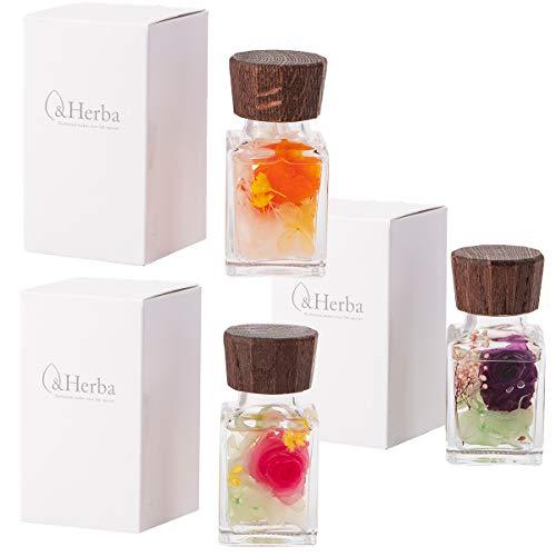(ファンファン) &Herba ハーバリウム ミニ 花 ギフト プレゼント アレンジメント ウッドキャップ S フレッシュ3色セット