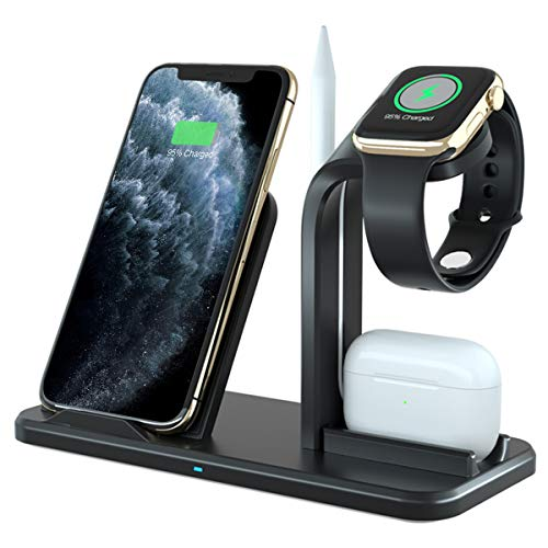 Wireless Charger Stand, APHQUA 3 in 1 Wireless Charging Station Compatible with Apple Watch 5/4/3/2 &Airpods 2/Pro, Qi Fast Wireless Charger Fit for iPhone 11 Pro Max/11 Pro/11/X/XS/XS Max/XR/8/8+