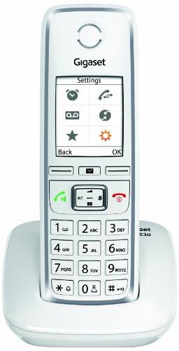Gigaset C530 Telefono Cordless, Rubrica Vcard, Esclusione Suoneria per Fasce Orarie e Numeri Anonime, Funzione Sorveglia Bimbo, Bianco, [Italia]