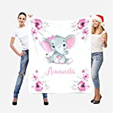 Personalized Elephant Baby Blankets with Name for Girls Custom Baby Blankets for Girls, Baby Customized Blankets, Custom Baby Name Blanket, Gift for Newborn Infants