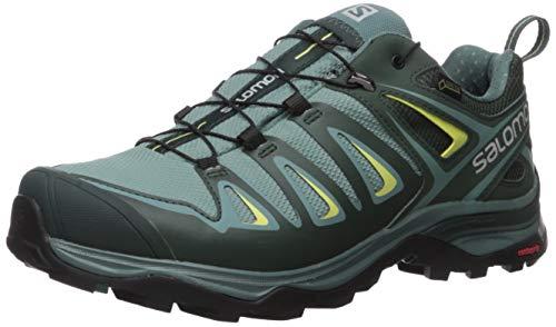 Salomon Women's X Ultra 3 GTX Hiking Shoes, ARTIC/Darkest Spruce/Sunny Lime, 8.5 Wide