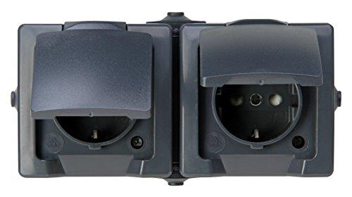 Kopp Nautic 2-Fach Schutzkontaktsteckdose, mit Klappdeckel und erhöhtem Berührungsschutz, Aufputz, für Feuchtraum, 250V (10A), IP44, waagerechte Montage, anthrazit, 137015003, Steckdose