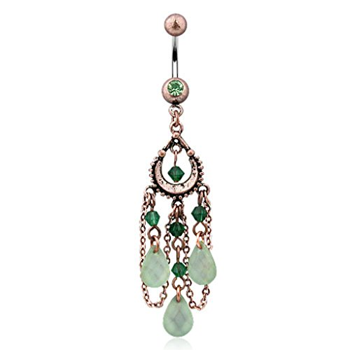 Dynamique Vintage Belly Button Ring with Peridot, Beads and 3-Pear Shaped Jade Belly Button Ring