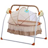 TFCFL WSD&Co Baby Cradle Swing Big Space Electric Automatic Baby Swings for Infants Indoor&Outdoor Outside with Dolls, Music. Boys or Girls bassinets Gift (Pink) (Pink) (Khaki)