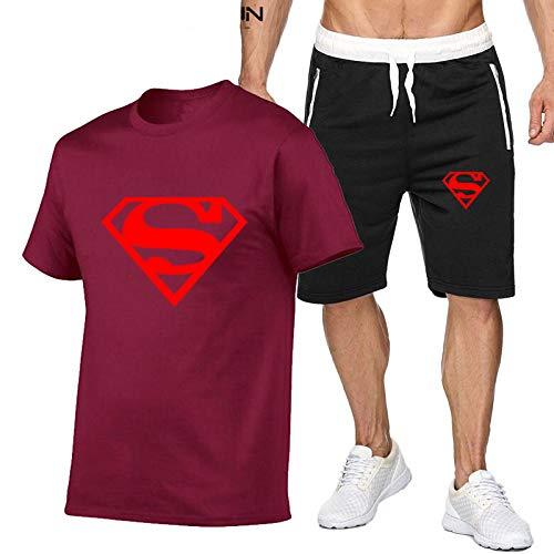 DREAMING-Camiseta casual de verano para hombre Top + Shorts Set Algodón Deportes Conjunto de pantalones cortos casuales cómodos de manga corta XL
