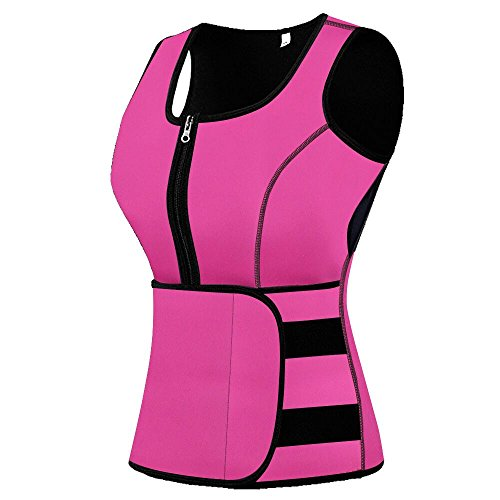 Mpeter Sweat Vest for Women, Slimming Body Shaper, Weight Loss, Pink, XXL