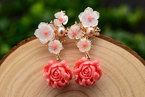 SALAN Pendiente Colgante De Coral Rosa De Plata Esterlina 925 Pendientes Colgantes De Flor De Concha De Piedra Natural Rosa Perla Blanca
