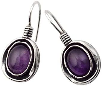 SHABLOOL Earrings 925 55% OFF Sterling Silver Atlanta Mall Amethyst Cabs Purple With
