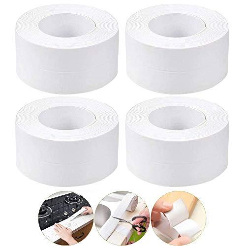 Sigillante Nastro Anti-muffa impermeabile, 4 Pcs Sigillante Striscia per Guarnizione in PVC Sigillante per Pareti Caulk Strip Nastro Sigillante per Bagno Striscia di Tenuta per Bordo Toilette Cucina