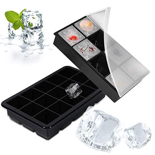 Dioxide Eiswürfelform, 2 Stück Silikon Eiswürfelbehälter mit Deckel, BPA-Frei 15+8 Eiswürfel für Bier, Whisky, Pudding oder Babynahrung (Schwarz)