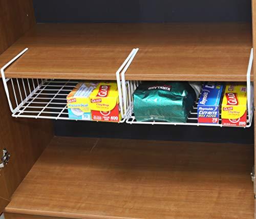 2 Pack - Simple Houseware Under Shelf Basket, White