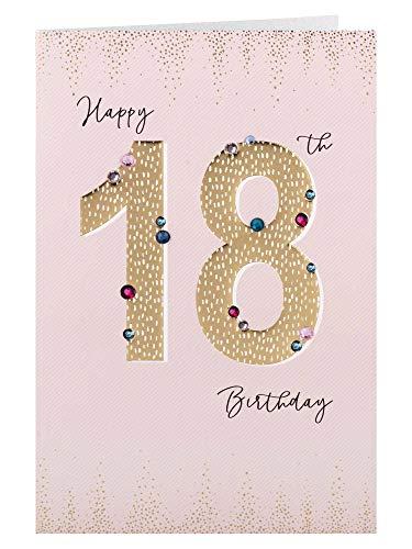Clintons: 1153017 Carte d'anniversaire 18 ans Motif chiffres dorés Multicolore 235 x 155 mm