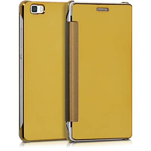 kwmobile 1x Funda Compatible con Huawei P8 Lite (2015) Case Espejo con óptica de Aluminio - Cover en Dorado