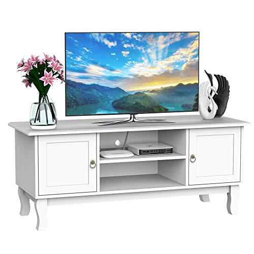 HOMCOM 120CM Wooden TV Stand Cabinet Storage Unit Console Media Table Living Room Entertainment Center Media Furniture Ivory White