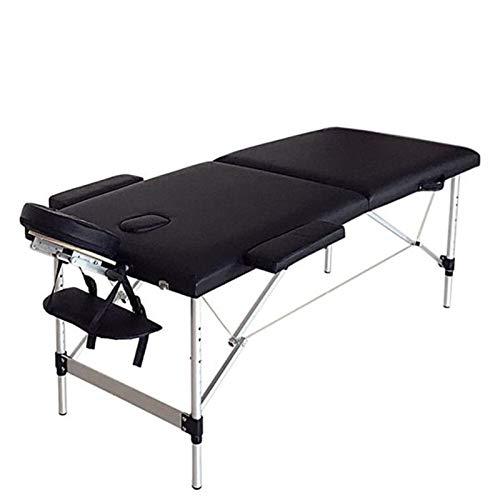 LCM 186cm * 60 cm * 63cm Beauty Bed 2 Secciones Plegable Portátil SPA Culturismo Mesa de Masaje Mesa Black Beauty Beautife Beauty Salon (Color : Black)