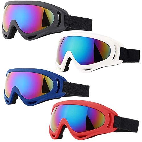Peicees Paquete de 4 gafas de esquí para mujeres, hombres, niños, deportes de nieve y snowboard