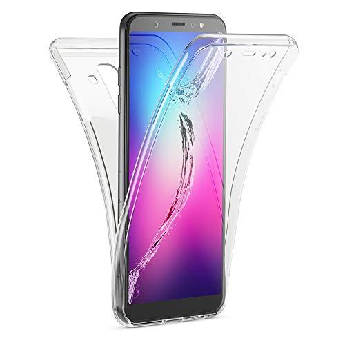 Kaliroo Housse 360 Degrés Compatible avec Samsung Galaxy A6 Plus Coque, Transparent Full-Body Silicone Cover Avant & Arrière Case, Mince Anti-Choc Etui Protege Couverture Integrale Protection d'Ecran
