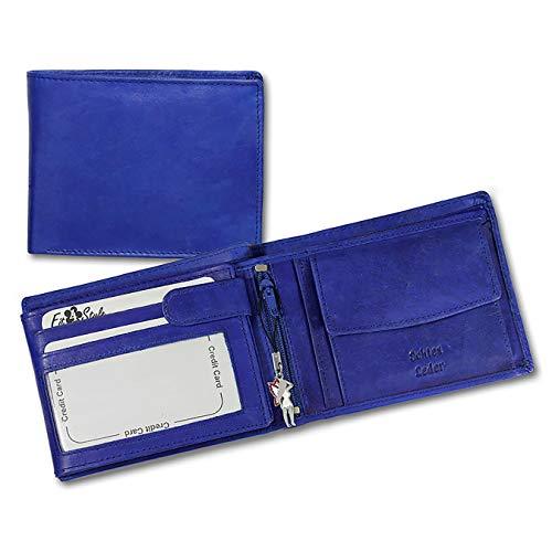 SilberDream Leder Geldbörse Querformat - blau - unisex Börse aus Echtleder Münzbörse Portemonnaie mit Fee-Anhänger OPR101B