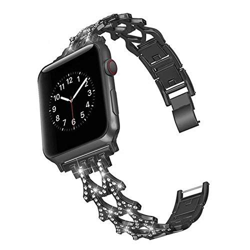 WILBUR Compatible con Apple Seguir Bandas 38 mm 44 mm 40 mm 42 mm, Correa de Acero Inoxidable del Diamante Compatible for iWatch Serie 5/4/3/2/1 Anti-Sudor Y Durable