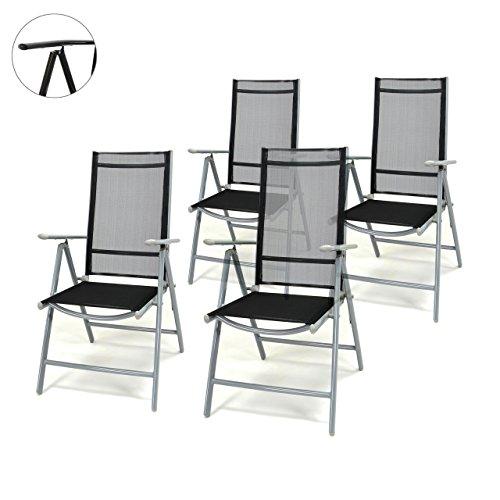 Nexos 4er Set Klappstuhl schwarz Aluminium 7-Fach-verstellbar Gartenstuhl Hochlehner mit Armlehne witterungsbeständig leicht stabil Rahmen hellgrau