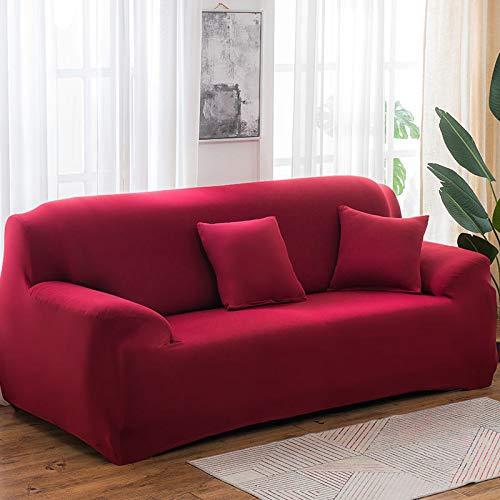 Funda de sofá de Color Puro, Alta Elasticidad y Resistente al Desgaste, Funda de sofá de algodón Lavable y a Prueba de Polvo, Suministros de sofá Rojo Vino para Tres Personas (190-230 cm)