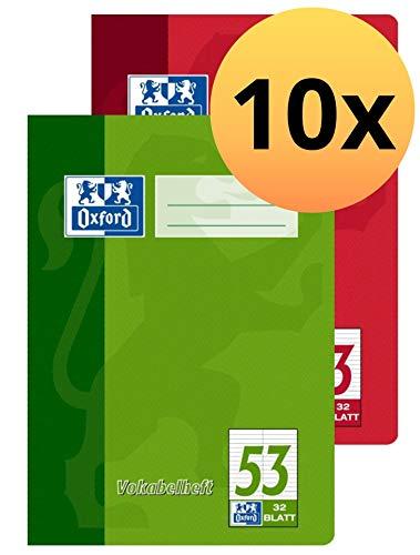 Oxford Schule Vokabelheft A5, mit 2 Spalten, 32 Blatt, sortiert rot und grün, 10er Pack