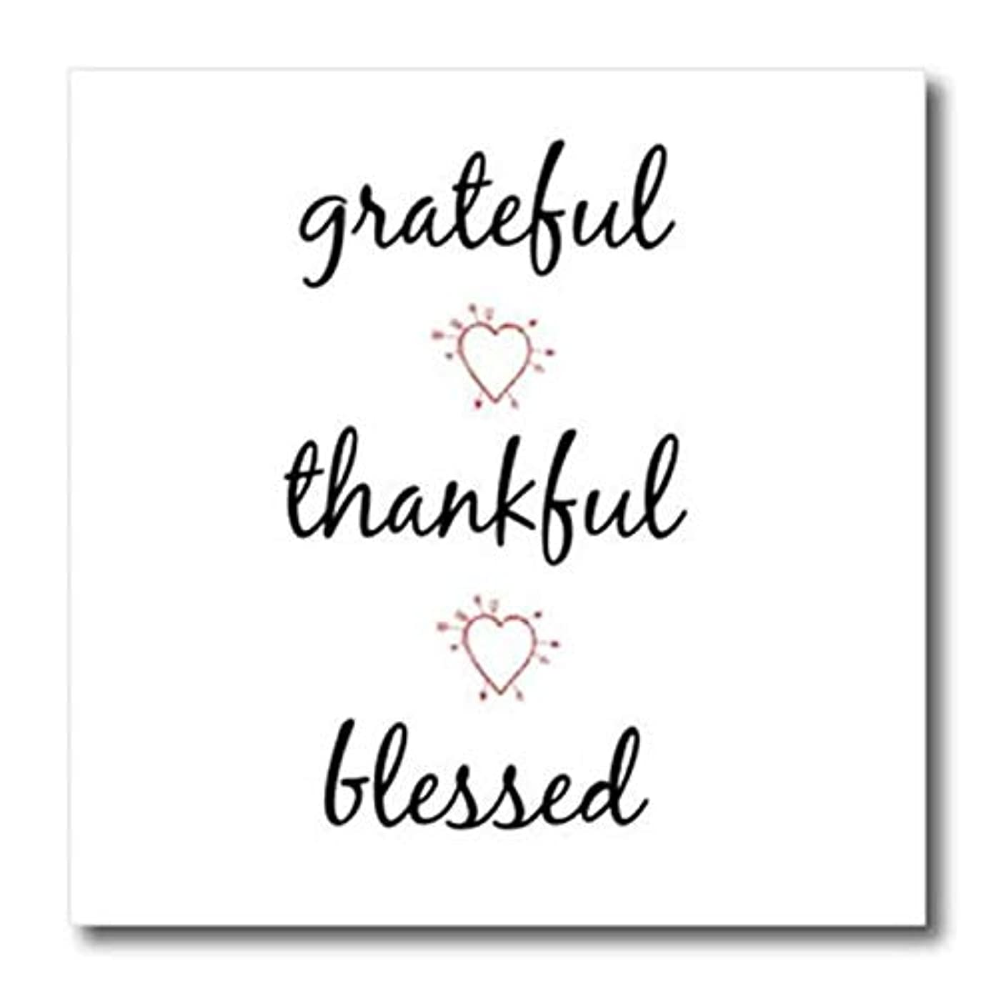 3dRose ht_265914_2 Grateful, Thankful, Blessed, Black Letters with Picture of Hearts Iron On Heat Transfer, 6