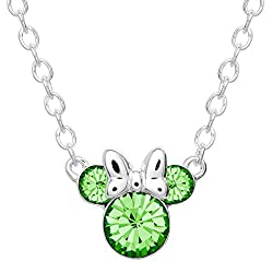 top rated Disney Minnie Mouse Crystal Stone Stone Silver Plated Pendant Necklace August, August Peridot … 2021