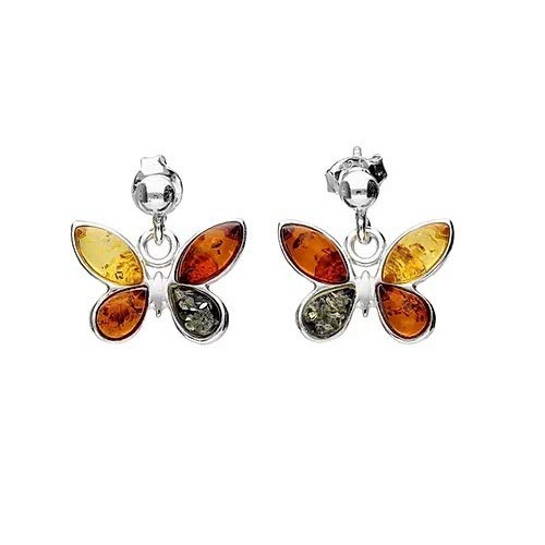 MILENA Stud Earrings Silver and Baltic Amber - Multicolor Butterfly