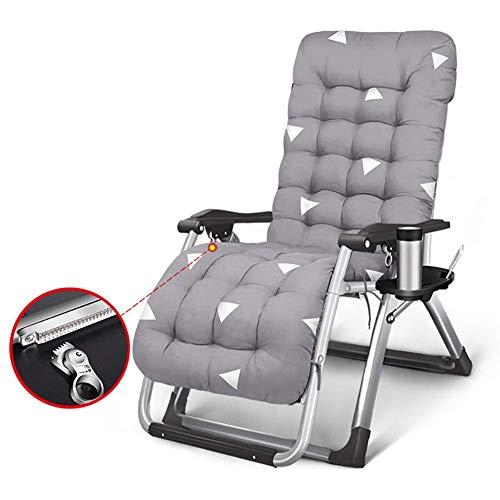 GCZZYMX sillas de gravedad cero resistentes tumbonas de playa reclinables, sillas acolchadas de gravedad cero gris para acampar patio jardín, soporte de 400 libras, gris-b