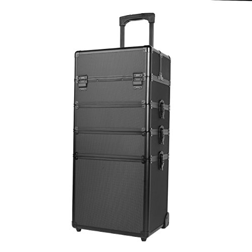 Paneltech 4 in 1 grande trucco bellezza Rolling Case Organizer Cosmetici Parrucchiere Lockable Storage Box Borsa professionale portatile Travel (Tutto Nero)