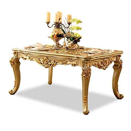 HMBB Mesa de comedor tallada rectangular Mesa de comedor de madera maciza for uso doméstico, mesa tallada, oro 6 3x35.4x30.7 Pulgadas, oro