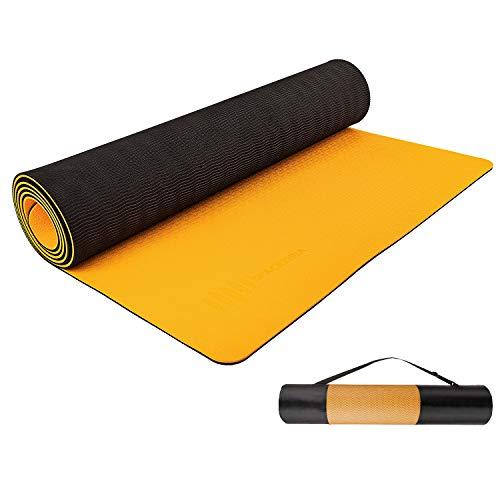 Alfombrilla de yoga, tapete deportivo (naranja + negro)