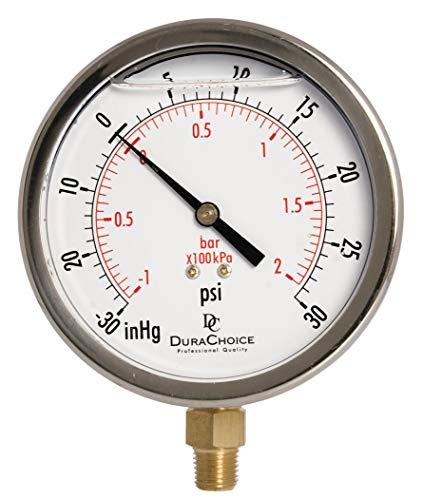 DURACHOICE 4 오일 충전 진공 압력 게이지 - 스테인리스 스틸 케이스 브래스 1 | 4 NPT 하부 마운트 연결 -30HG | 30PSI