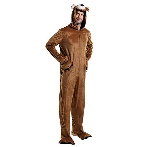 ReneeCho Men?s Brown Bear Halloween Costume Onesie Pajama Animal Suit Adult Full Body Cosplay, Adult's Bear Pajama, X-Large
