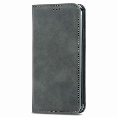 Unichthy Coque Samsung Galaxy A72 officielle antichoc en cuir PU à rabat avec fermeture magnétique et support pour cartes Gris