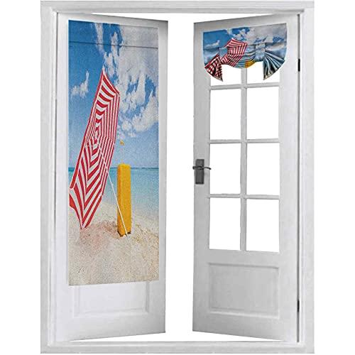 Cortina de puerta francesa, playa de arena ventosa con sombrilla y carrito de verano, vacaciones relajadas, 1 panel de 66 x 172 cm, cortinas para puertas francesas, multicolor