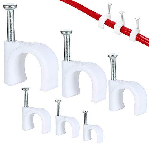 SANTOO 600 Stk Kabelschelle Nagelschelle Haftclips mit Eingestecktem Nagel 4mm 5mm 6mm 7mm 8mm 10mm Nagelschelle Zur Fixierung von Kabeln Leitungen